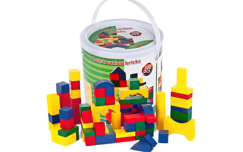 70c117b8636 Σετ απο 100 τεμ Ξύλινα Τουβλάκια σε κουβά μεταφοράς για ατέλειωτες ώρες  παιχνιδιού και δημιουργίας, Wooden Toys 44025 | Εκπαιδευτικά παιχνίδια ...