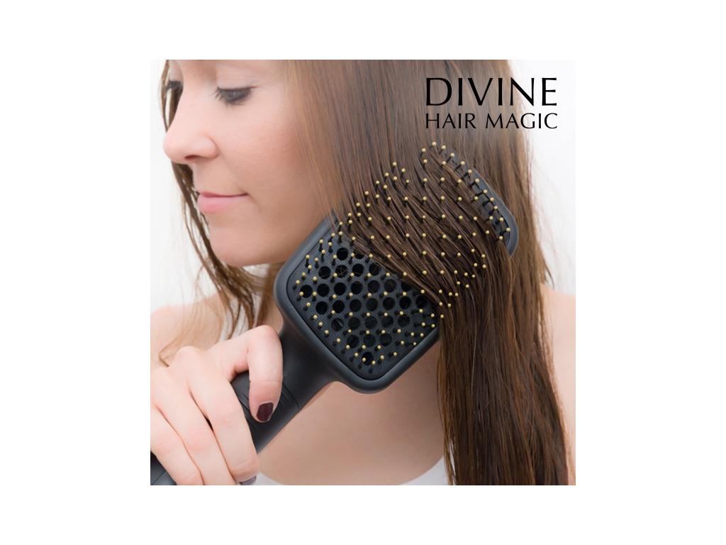 Divine Hair Magic Θερμαινόμενη Βούρτσα Ισιώματος Μαλλιών 1000W 3 σε 1 με  εργονομική Λαβή σε Μαύρο χρώμα 8cf10826b52