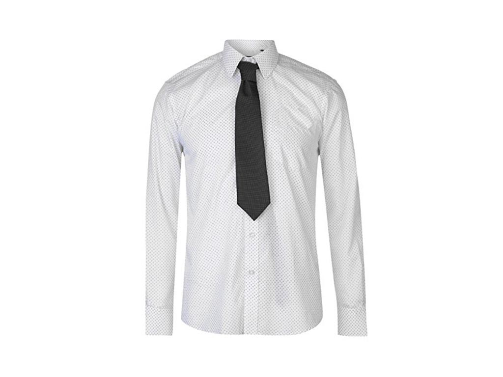 5014dd5a1925 Pierre Cardin Ανδρικό Πουκάμισο Μακριμάνικο με Γιακά και σχέδιο σε χρώμα  Λευκό Μαύρο