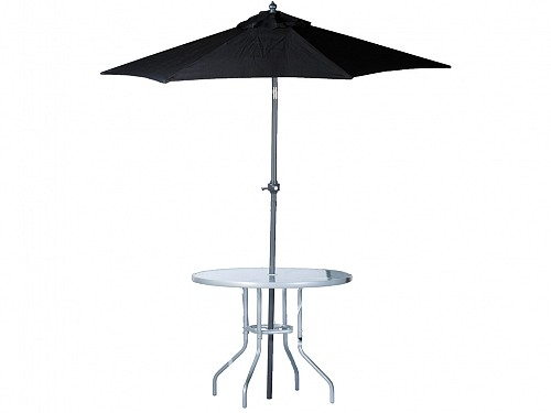 Lifetime Garden Garden Furniture Set 2 Pieces with 90x70cm Table and 2m Umbrella in Black, ANDES 39733