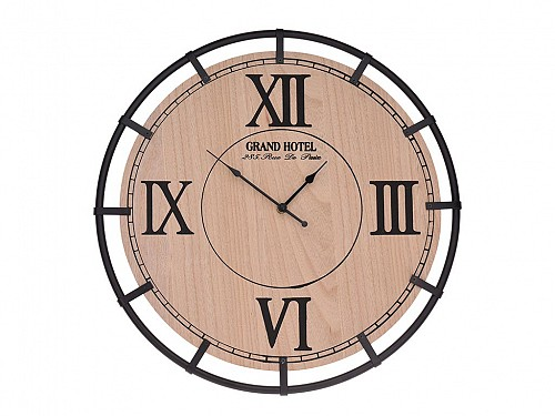 Wall Clock with metal frame and wooden dial with Latin numbers, 46 cm in diameter