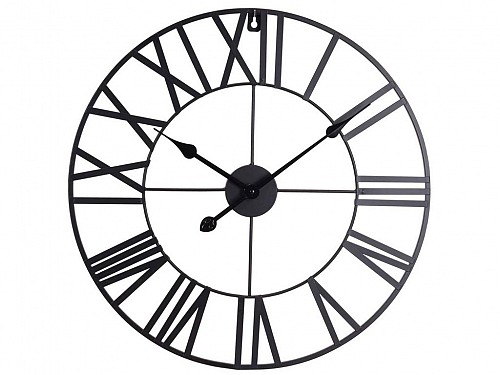 Analog Metallic Wall Clock with dimensions 57x57x4cm in black