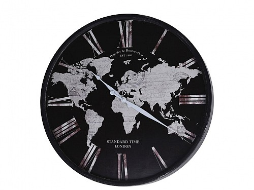 Analog Metallic Wall Clock with Black Map View, 57x57x5cm