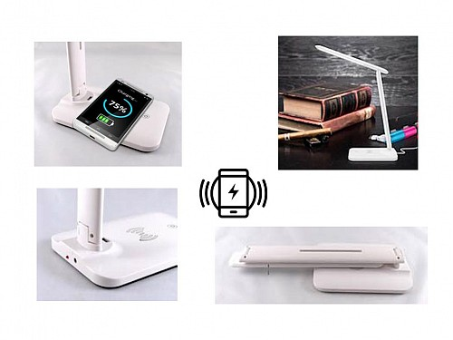 Folding Desk Light, with Induction Wireless Charger, in White