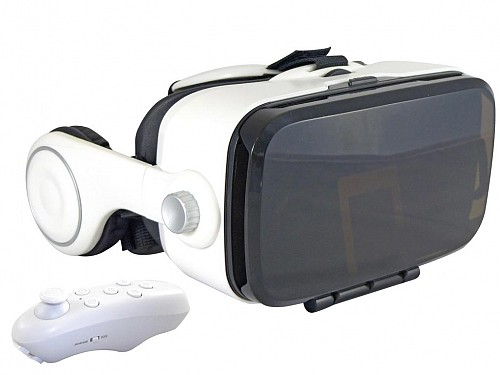 3D-VR Virtual Reality Glasses, with Built-in Headphones and Joystick, for 3.5 '' - 6 '' Smartphones