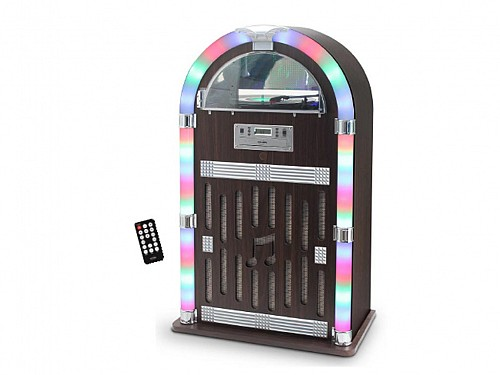 Retro Jukebox 2x30W Speaker with Turntable, CD, FM Radio, Remote Control and Bluetooth