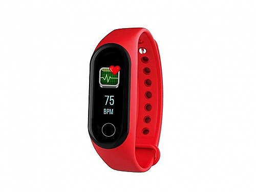 Smartwatch Waterproof Smart Watch with Pulse Meter for iOS and Android in red color, M3