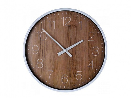 25cm Analog Metal Wall Clock with bamboo wood effect, Wall Clock