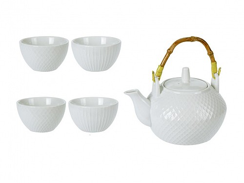 Porcelain Tea Serving Set with Teapot and 4 Mugs in White