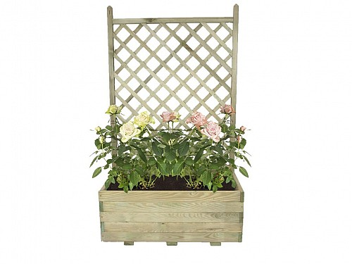 Vintage Wooden Jardiniere with climbing mesh for Flowers in natural color, 80x40x130 cm