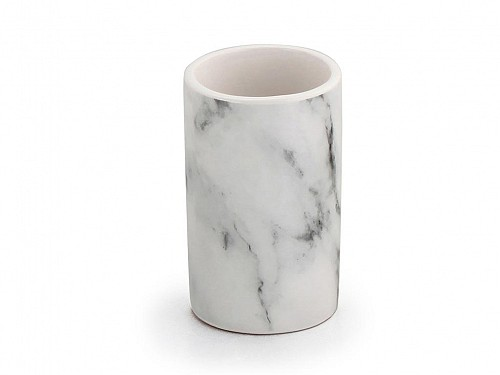 Ceramic bathroom container for Toothbrushes with marble effect, 6x6x10.3 cm